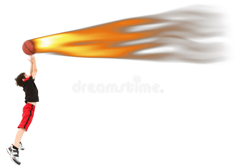 Boy Child Basketball Player Catching Fire Ball. Energetic 8 year old boy child in basketball uniform jumping to catch ball on fire stock photos