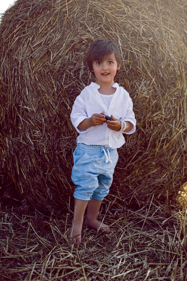Boy a child in blue pants stands in a mowed field with stacks royalty free stock photos