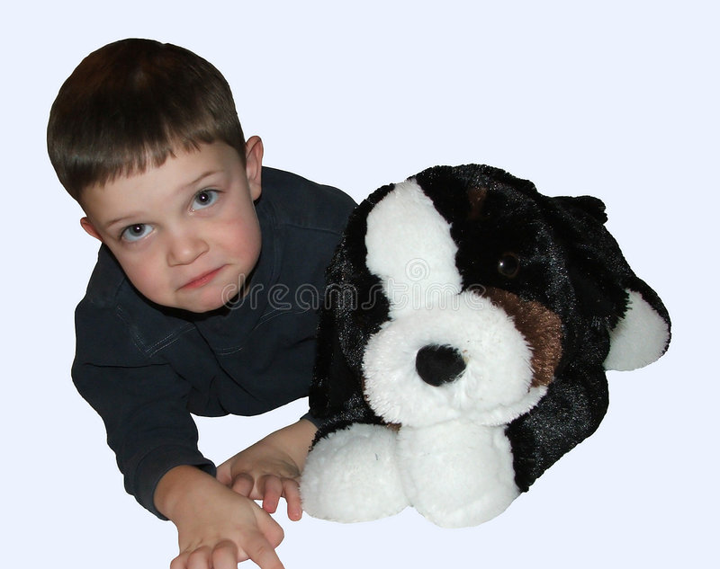 Boy Child and Dog stock photos