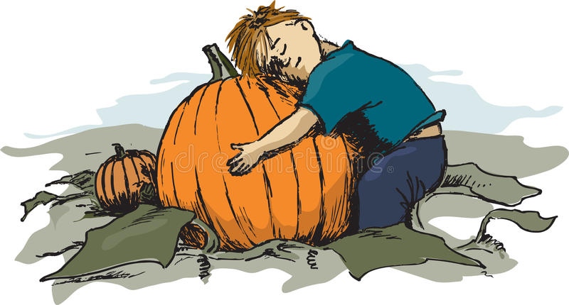 Boy child and his prize pumpkin stock photo