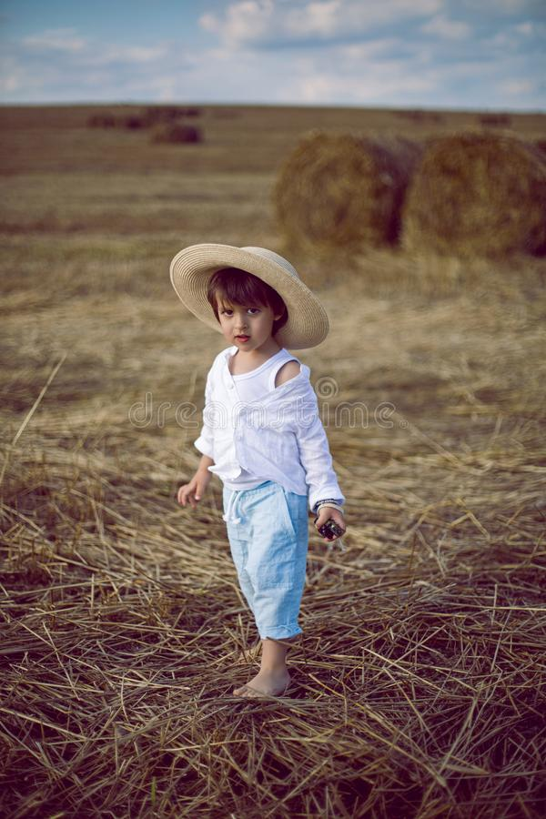Boy a child in a straw hat and blue pants stands in a mowed field with stacks royalty free stock photography