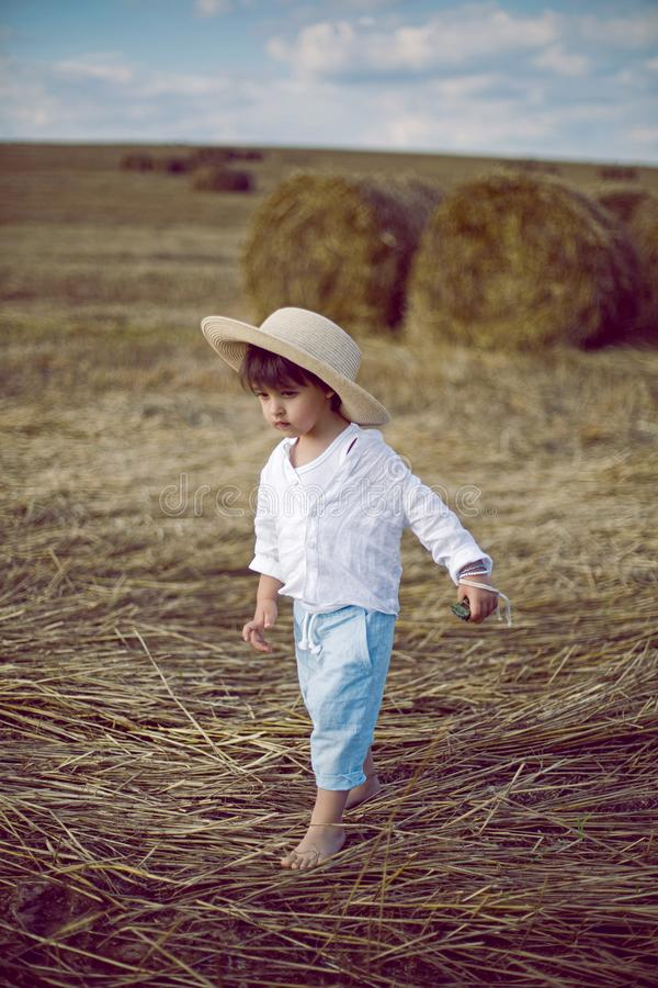 Boy a child in a straw hat and blue pants stands in a mowed field with stacks stock photo