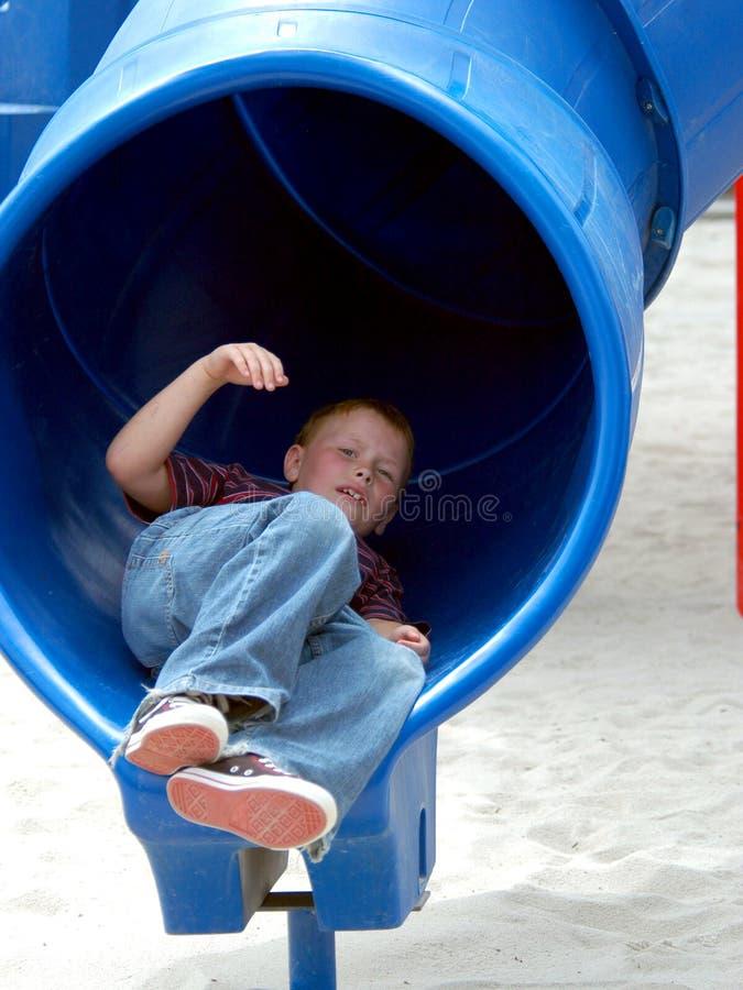 Download Boy Child In Tube Slide stock image. Image of slide, brandon - 151845
