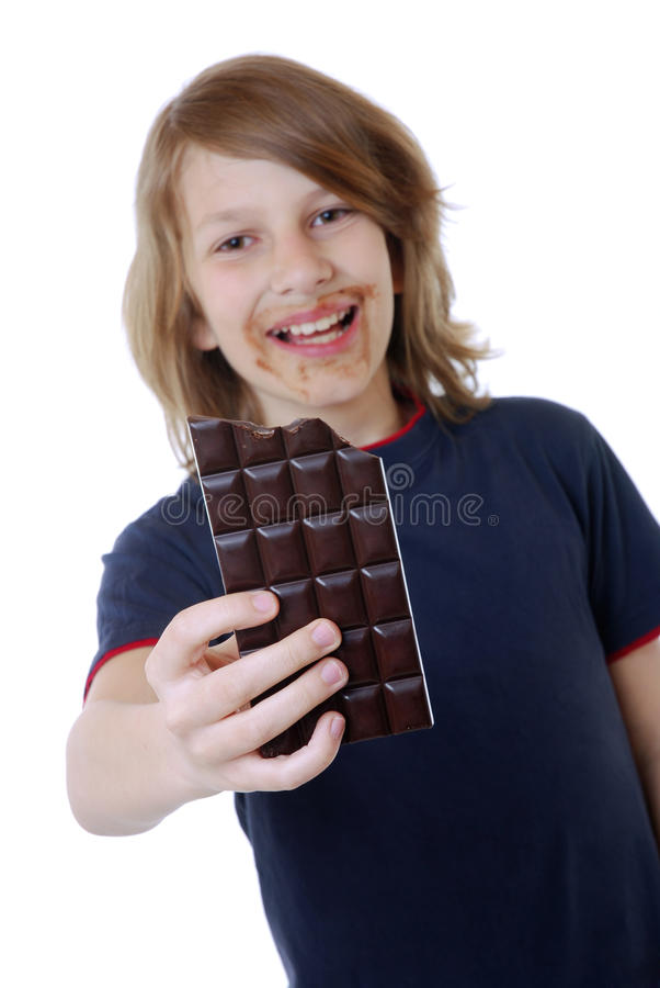 Download Boy with chocolate stock image. Image of child, offer - 19648659