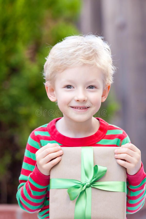 Boy At Christmas Time Stock Images