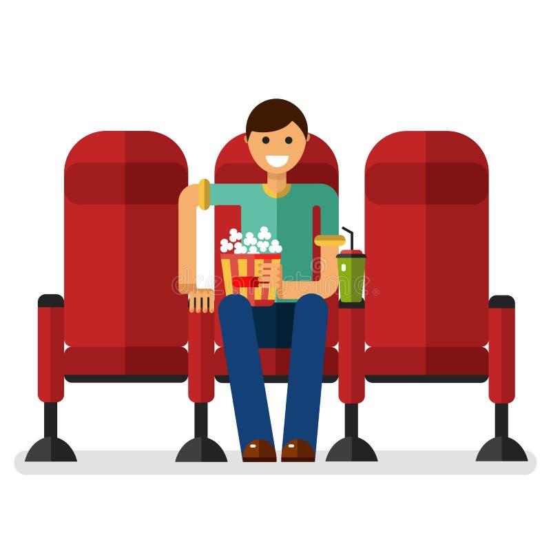 Boy in the cinema vector illustration