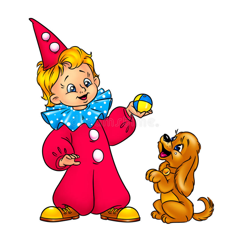Download Boy Circus Clown And A  Little Puppy Stock Illustration - Illustration: 28693761