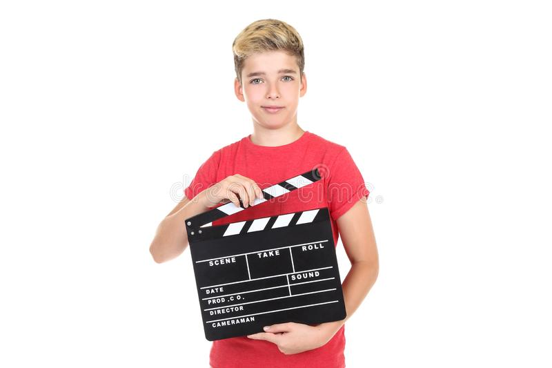 Boy with clapper board stock images
