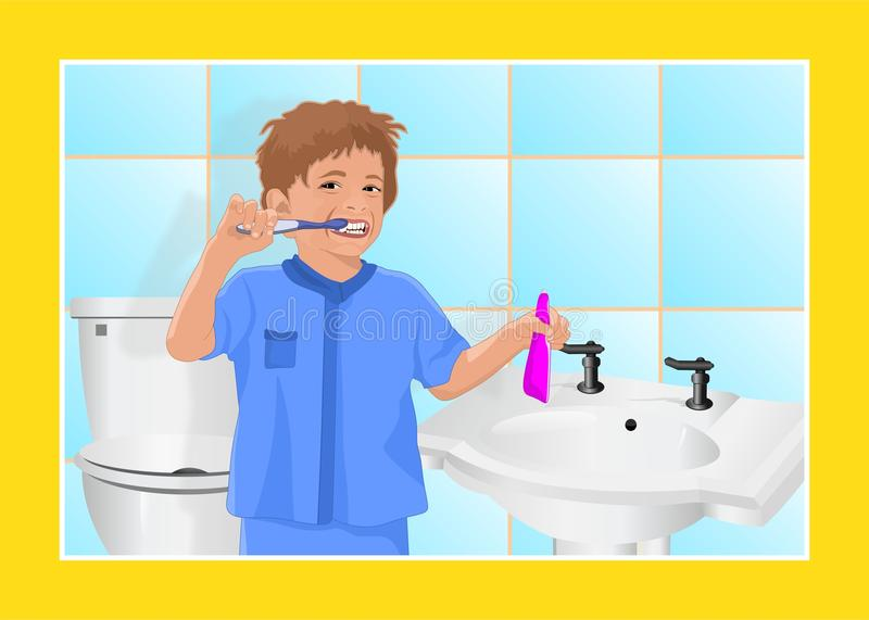 Boy cleaning his teeth stock photo