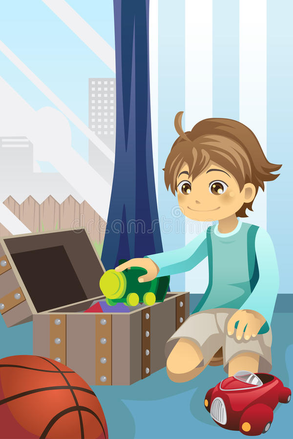 Boy cleaning up his toys vector illustration