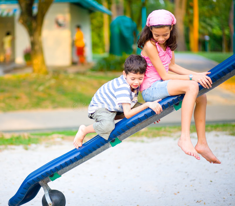 Download Boy Climb On The Slide With Sister Stock Image - Image: 5967123