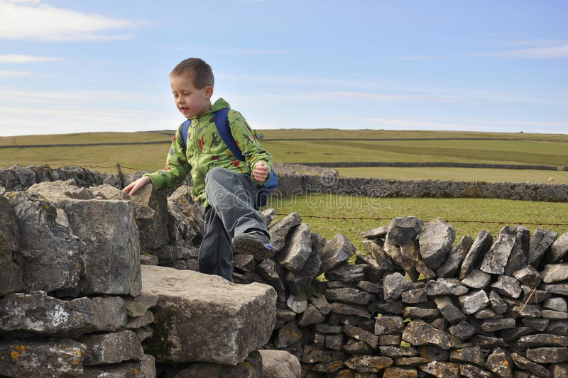 Download Boy Climbing Dry-wall In English Countryside Stock Images - Image: 14319774