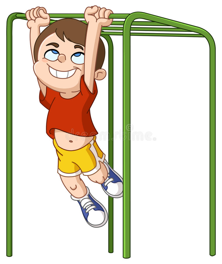 Free Boy Climbs Monkey Bars Stock Photo - 97272810