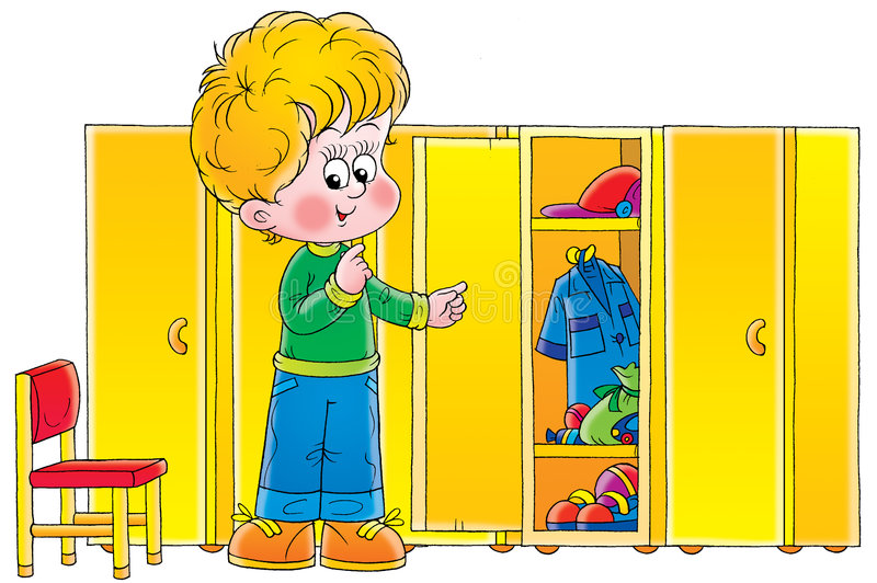 Download Boy in cloakroom stock illustration. Image of family, childhood - 2410703