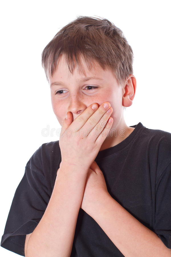 Boy With A Closed Mouth Stock Photo
