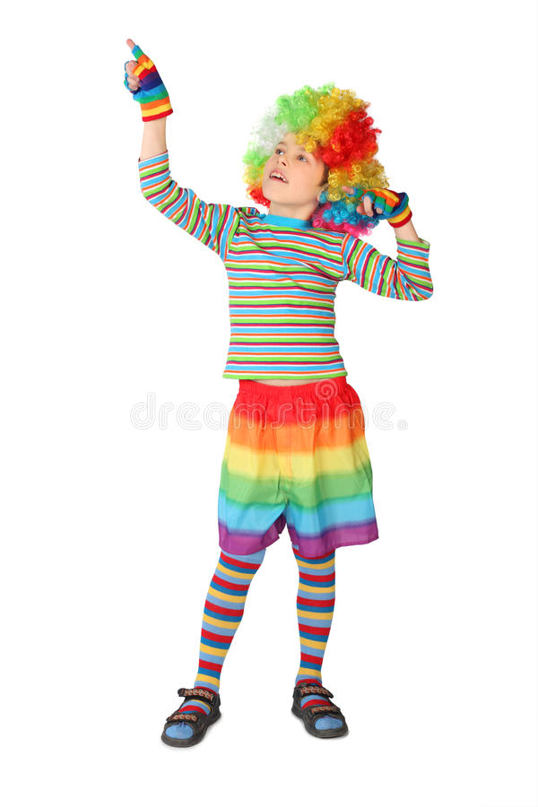 Download Boy In Clown Dress Pointing At Side Isolated Stock Photo - Image of blond, isolated: 14950632