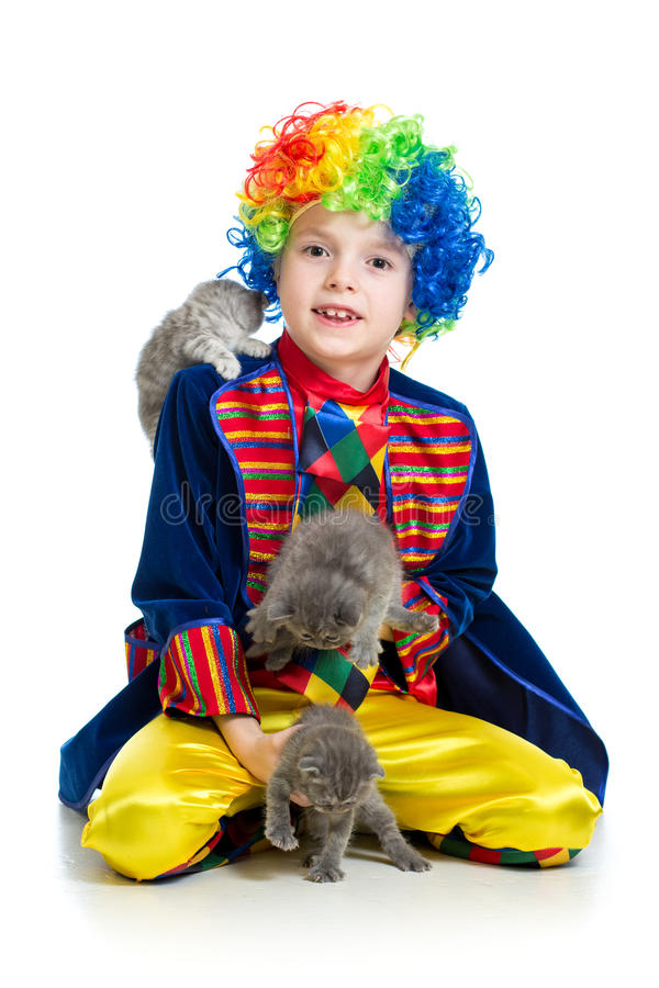 Boy clown training cats kittens over the white background. Boy clown training kittens over the white background royalty free stock photography