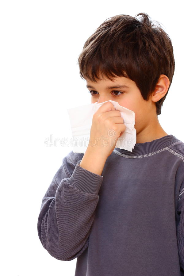 Download A boy with cold stock image. Image of nose, tissue, isolated - 23243637
