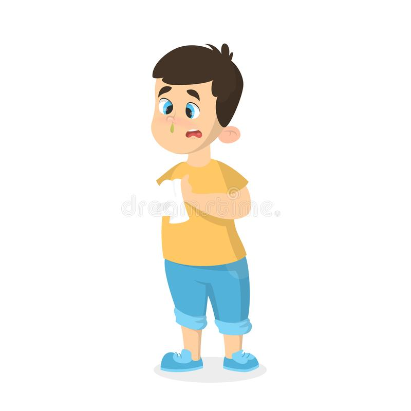 Boy with cold. vector illustration