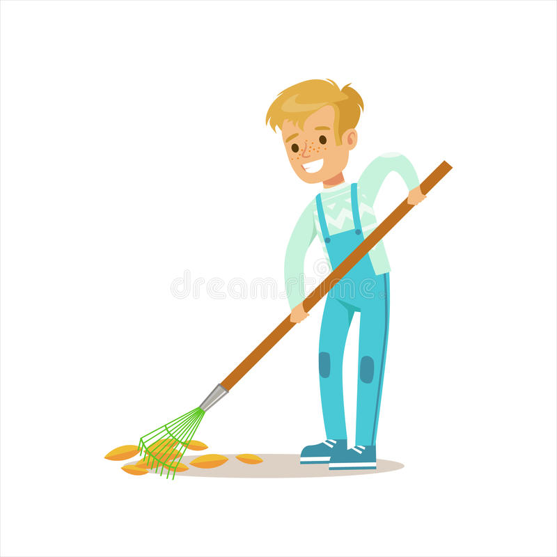 Boy Collecting Fallen Leaves With Rake Helping In Eco-Friendly Gardening Outdoors Part Of Kids And Nature Series. Happy Child Interacting With Nature And vector illustration