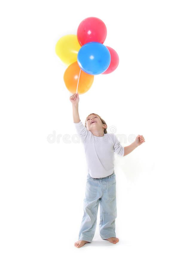 Boy with colorful balloons over white royalty free stock photos