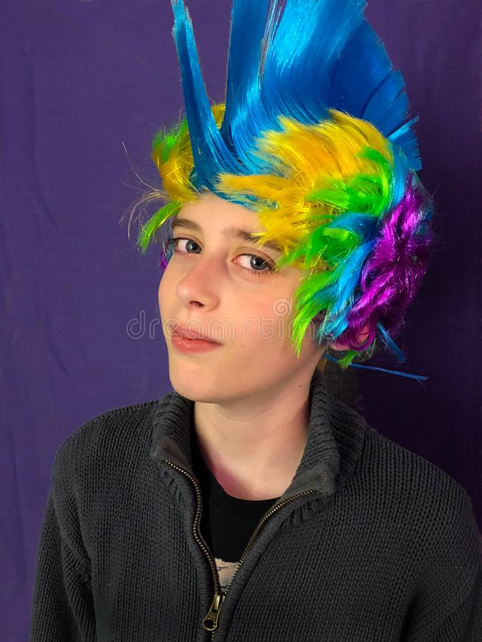 Boy with Colorful Punk Rocker Mohawk Costume Wig royalty free stock photography