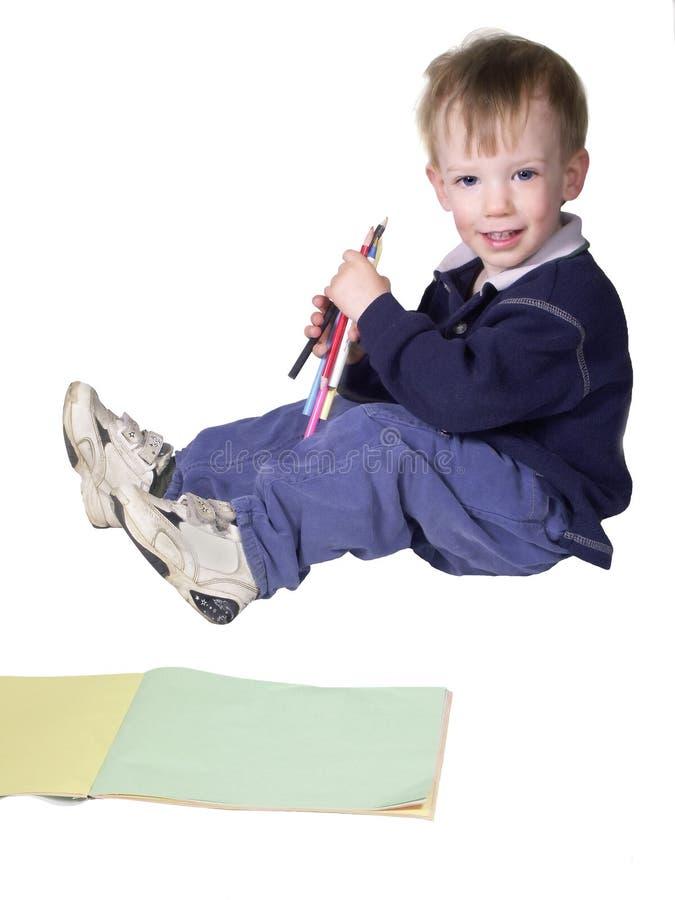 Boy coloring stock photo