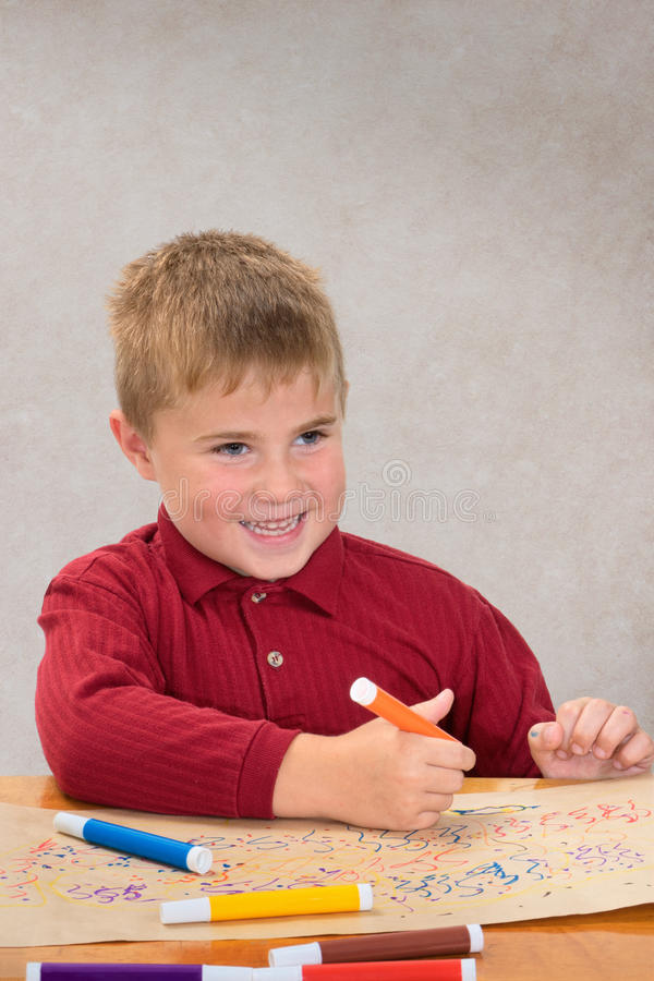 Boy Coloring royalty free stock photo