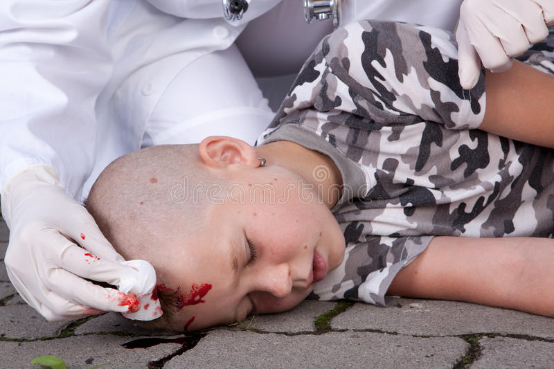 Boy in coma stock photo