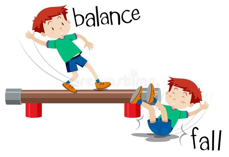A boy comparison of balance and fall vector illustration