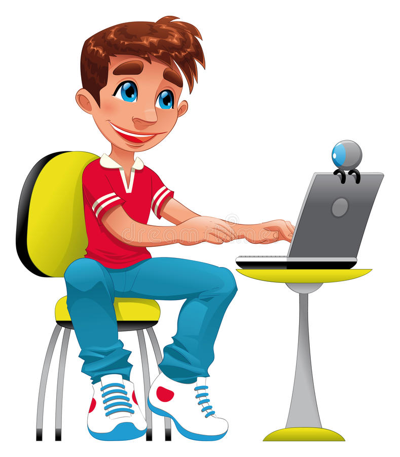 Boy and computer. Funny cartoon and character vector illustration