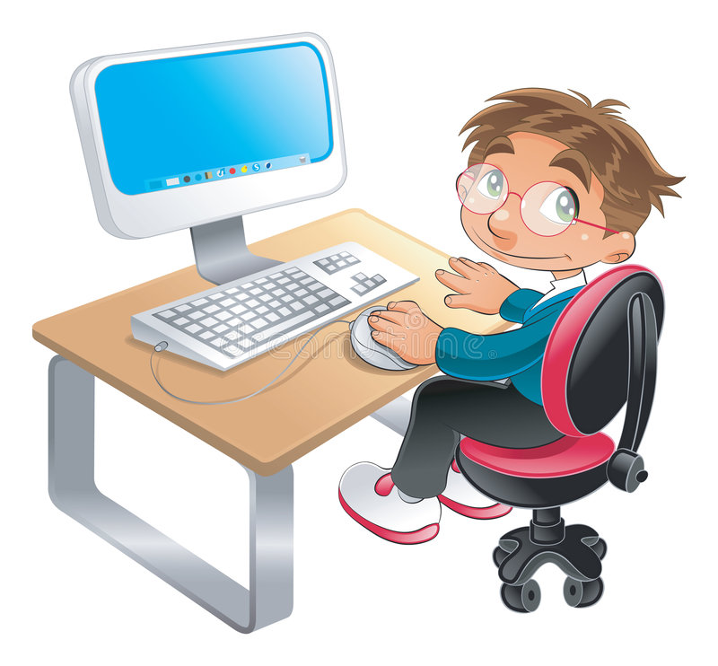 Boy and computer stock illustration