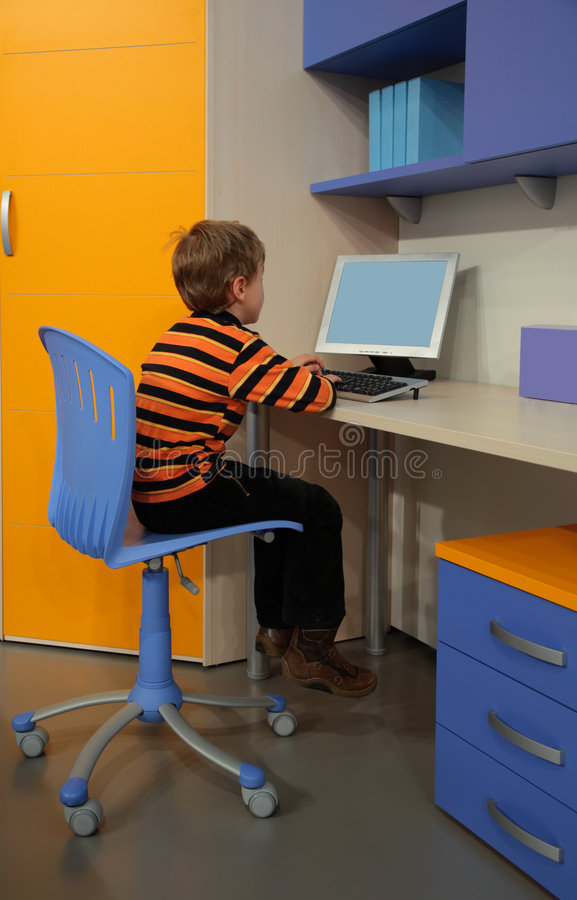 Download Boy At Computer In Children's Room Stock Image - Image: 9292181