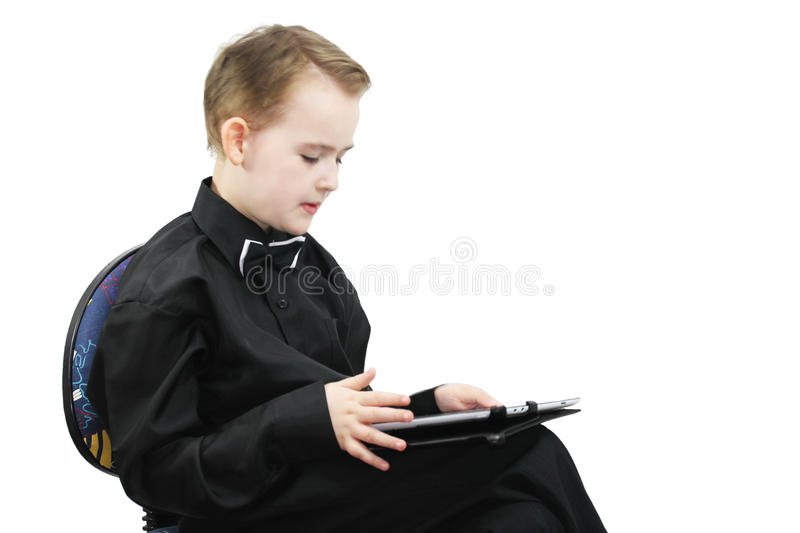 Boy with a computer stock images