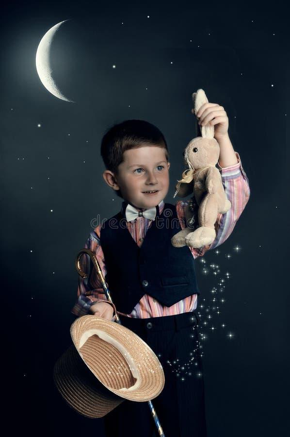 The boy-conjurer stock image