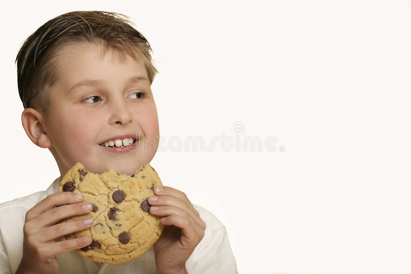 Boy with cookie royalty free stock photos
