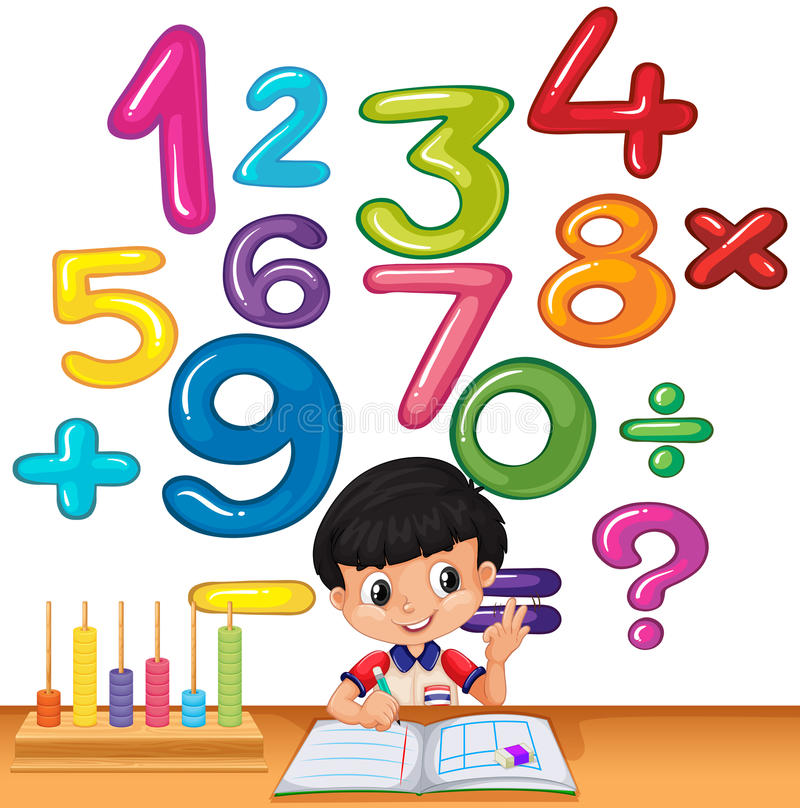 Boy counting numbers on the desk. Illustration vector illustration
