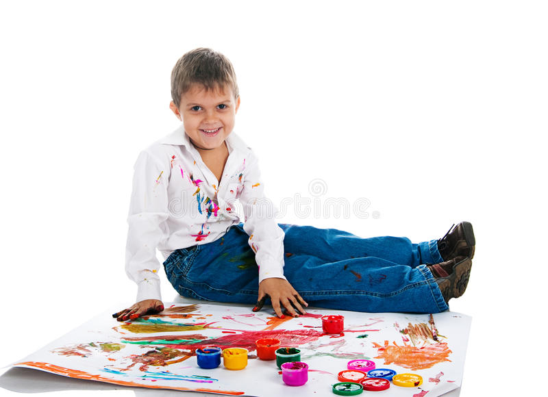 Download Boy Covered In Bright Paint Stock Image - Image of education, finger: 16660621