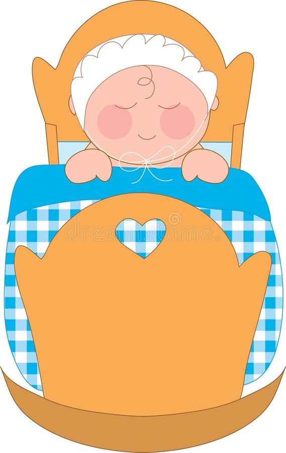 Boy in Cradle. Baby boy in a cradle with a gingham blanket royalty free illustration