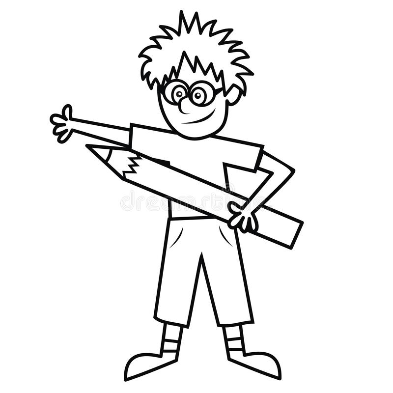 Boy And Crayon - Coloring Book Stock Vector - Illustration of design ...