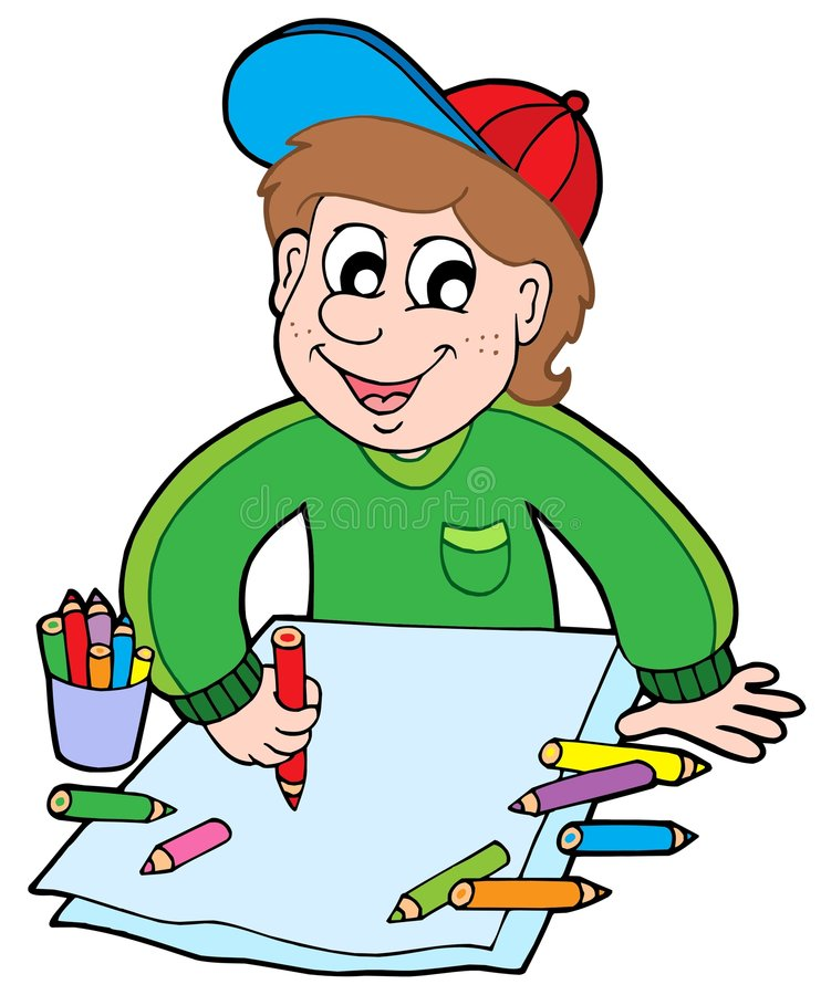 Boy with crayons vector illustration