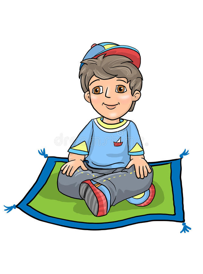 Boy Cross Legged Sitting Exam. Exam Boy Cross Legged Sitting, in the Lotus Position On The carpet, on the Floor And Smiling, at the age of 5-6 years, preschool stock illustration