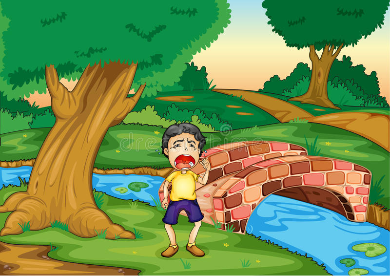 Download Boy crying alone stock illustration. Image of outdoor - 25426778