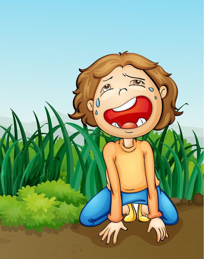 Boy crying alone vector illustration