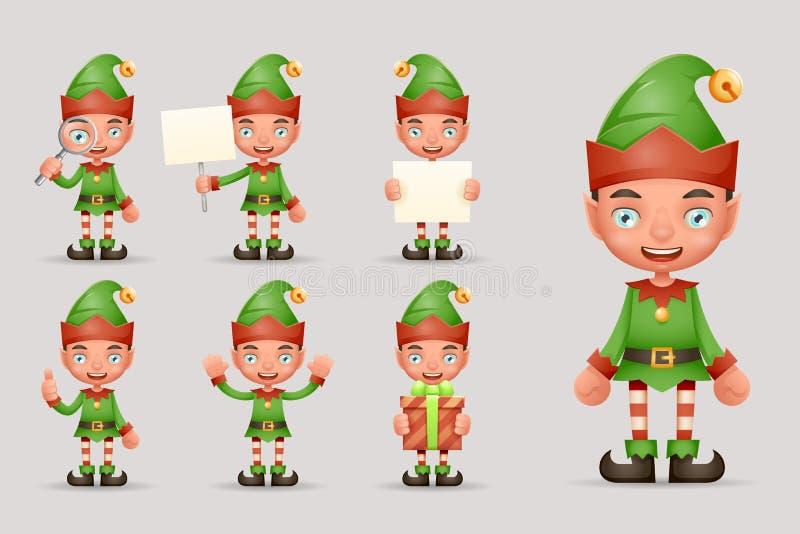 Boy Cute Elf Christmas Santa Claus Helper Teen New Year Holiday 3d Cartoon Characters Realistic Icons Set Design Vector. Boy Cute Elf Christmas Santa Claus stock illustration