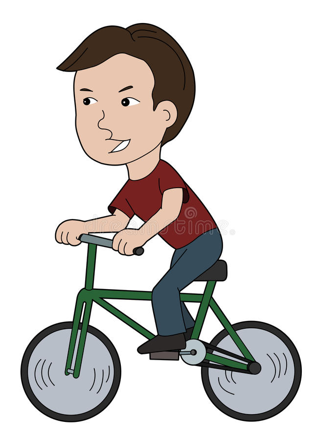 Boy cyclist cartoon stock photo