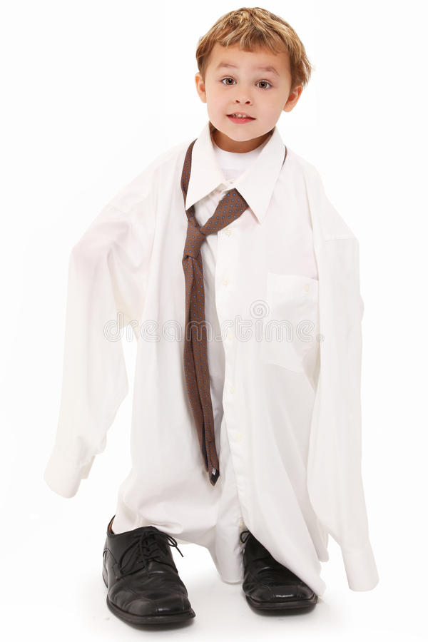Boy in Dad's Shirt and Tie royalty free stock images