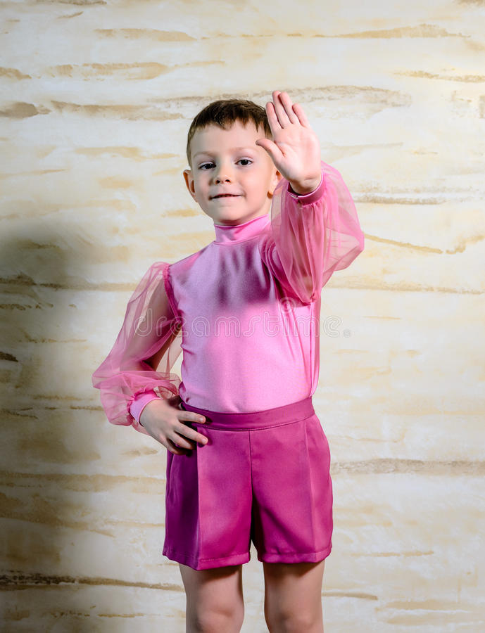 Boy Dancer Posing with Hands Together stock image