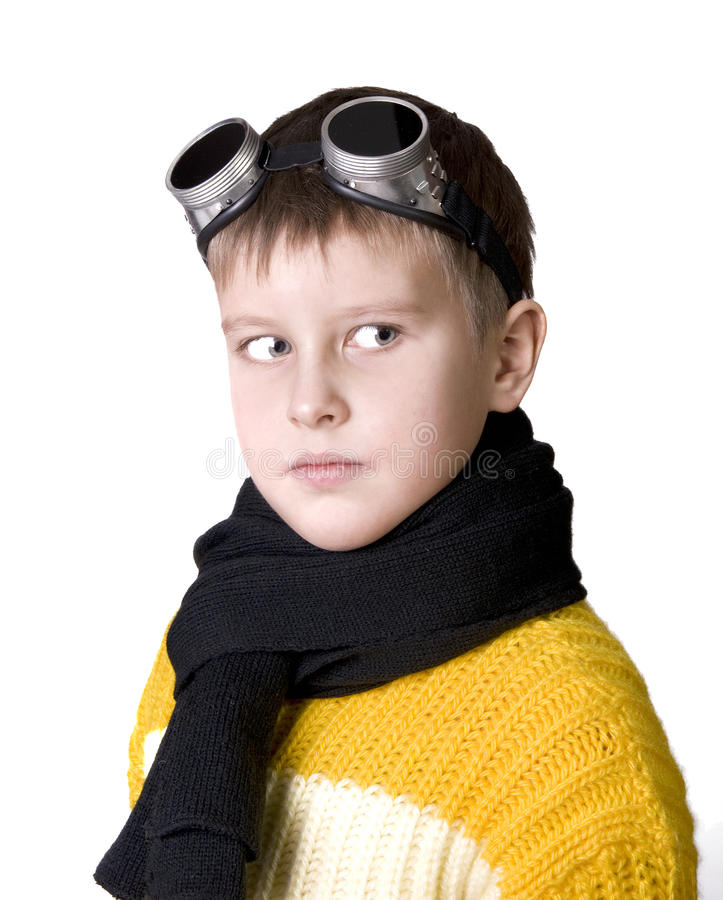 Download Boy In Dark Glasses Pretends To Be A Pilot Stock Image - Image: 12488225
