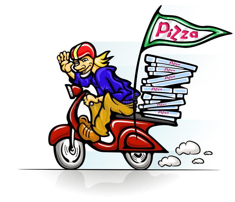 Boy delivering pizza on scooter. Vector illustration vector illustration